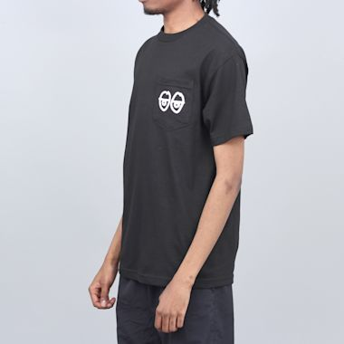 Second view of Krooked Strait Eyes T-Shirt Black / White