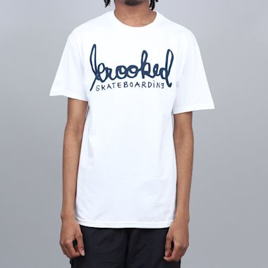 Krooked Skript T-Shirt White / Navy