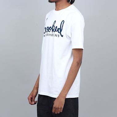 Second view of Krooked Skript T-Shirt White / Navy