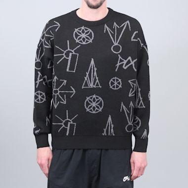 Paccbet Graphic Jacquard Knit Sweater Black