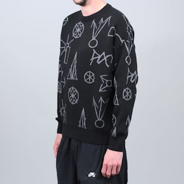 Second view of Paccbet Graphic Jacquard Knit Sweater Black