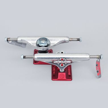 Independent 144 Hollow Forged Vintage Cross Trucks Silver / Red (Pair)