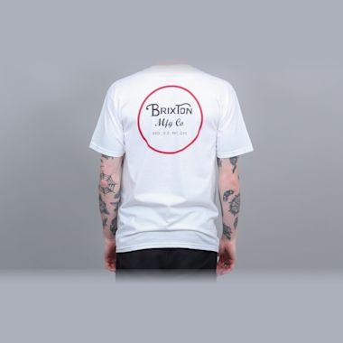 Second view of Brixton Wheeler II Standard T-Shirt White / Black / Red