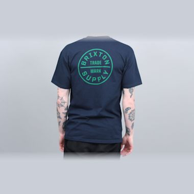 Second view of Brixton Oath Standard T-Shirt Navy / Green