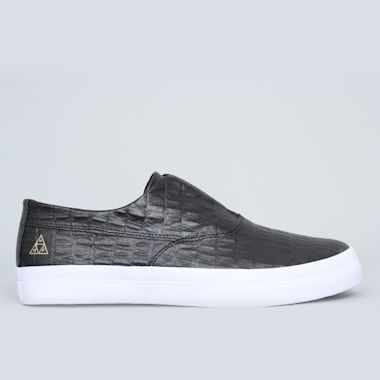 HUF Dylan Slip On Shoes Black Leather Croc
