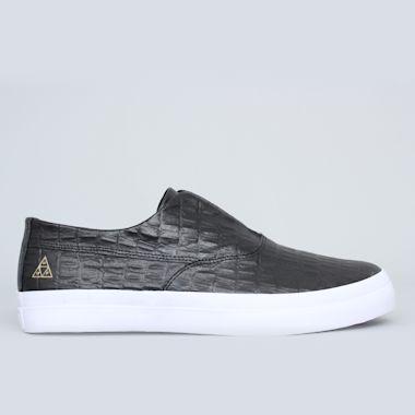 HUF Dylan Slip On Shoes Black Leather Croc