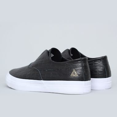 Second view of HUF Dylan Slip On Shoes Black Leather Croc