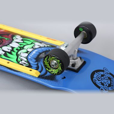 Second view of Santa Cruz 9.5 Roskopp Face 80's Complete Skateboard Red / Blue