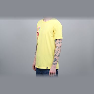 Second view of HUF Channel J T-Shirt Aurora Yellow