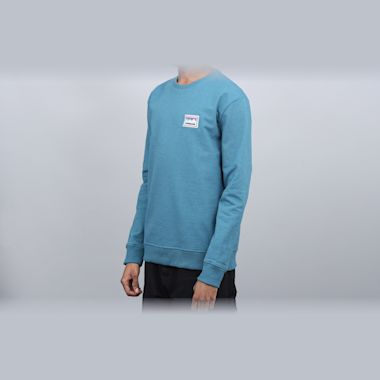 Second view of Patagonia Shop Sticker Patch Uprisal Crew Sweatshirt Tasmanian Teal