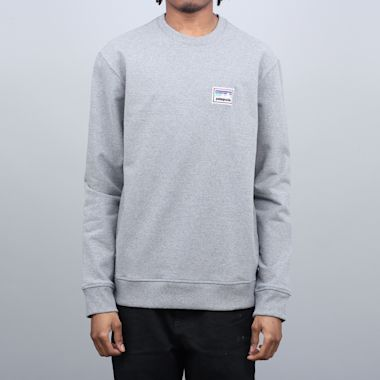 Patagonia Shop Sticker Patch Uprisal Crew Sweatshirt Gravel Heather