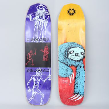 Welcome 8.25 Sloth On Vimana Skateboard Deck Blue / Fire Stain