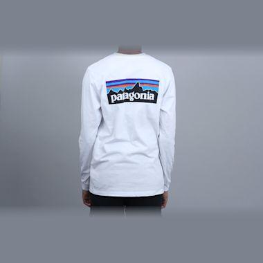 Patagonia P-6 Logo Responsibili Longsleeve T-Shirt White