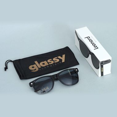 Second view of Glassy Leonard Black Sunglasses