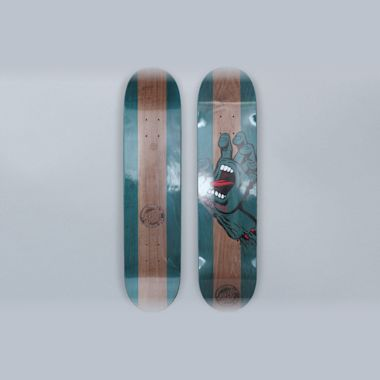 Santa Cruz 7.6 Stained Hand Skateboard Deck Blue