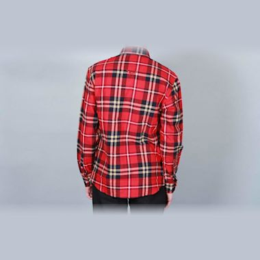 Second view of DQM Steamer Plaid Cotton Flannel Shirt Red