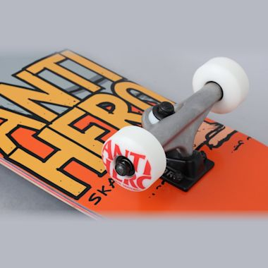 Second view of Anti Hero 7.75 Pigeon Hero Medium Complete Skateboard Orange