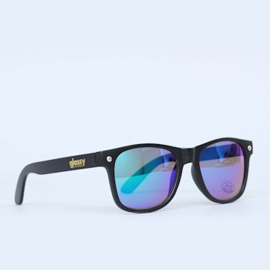 Glassy Leonard Matte Black / Green Mirror Sunglasses