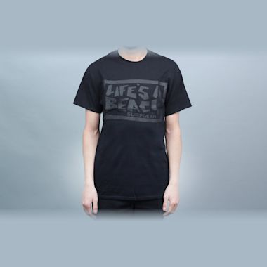 Life's A Beach Chest Logo T-Shirt Black / Black