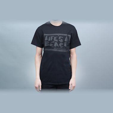 Life's A Beach Chest Logo T-Shirt Black / Black