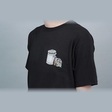 Second view of Dear Skating Garbage Cans T-Shirt Black