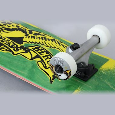 Second view of Anti Hero 7.5 Stencil Eagle Small Complete Skateboard Green / Yellow