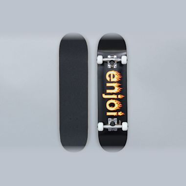 Enjoi 7.25 Helvetica Flame Youth FP Complete Skateboard Black