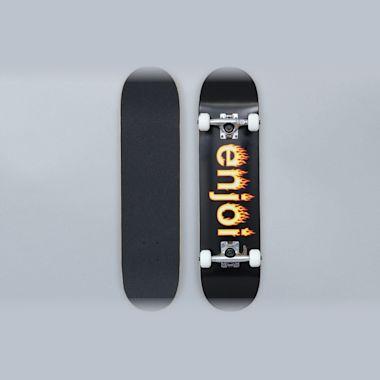 Enjoi 7.25 Helvetica Flame Youth FP Complete Skateboard Black