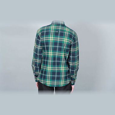 Second view of DQM Steamer Plaid Cotton Flannel Shirt Green