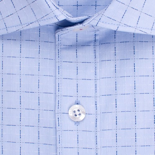 Enlarge  BROOKSFIELD Mens Career Grid Dobby Shirt BFC1511 LIGHT BLUE