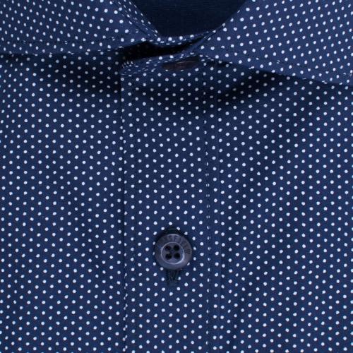 Enlarge  BROOKSFIELD Mens Navy Career Stretch Pin Dot Print Shirt BFC1513 NAVY