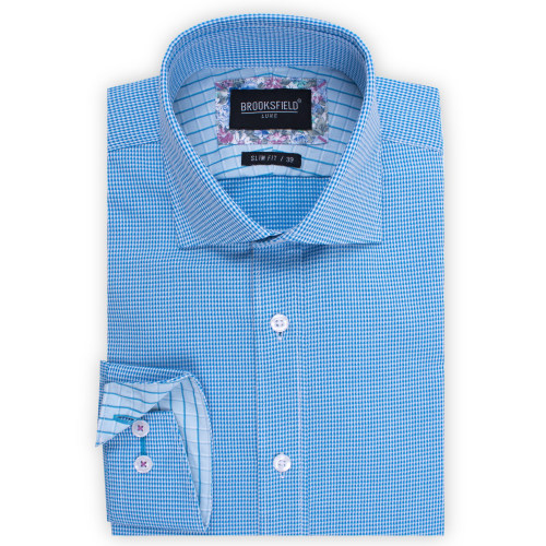 Brooksfield Floating Dobby Micro Gingham Shirt BFC1522 colour: AQUA