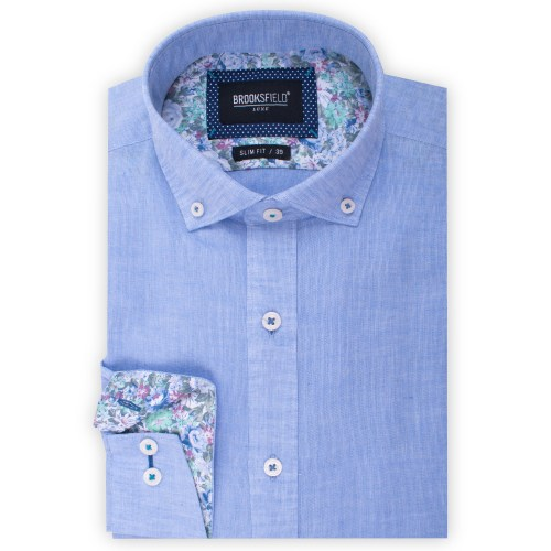 Brooksfield Plain Textured Linen Blend Shirt BFC1524 colour: BLUE