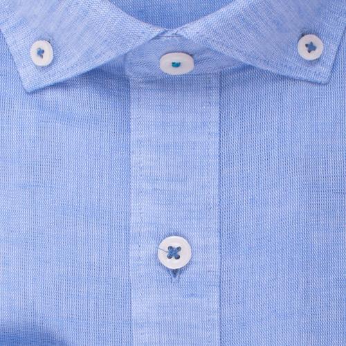 Enlarge  BROOKSFIELD Mens Plain Textured Linen Blend Shirt BFC1524 BLUE