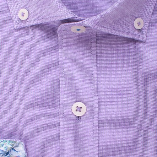 Enlarge  BROOKSFIELD Mens Plain Textured Linen Blend Shirt BFC1524 LILAC