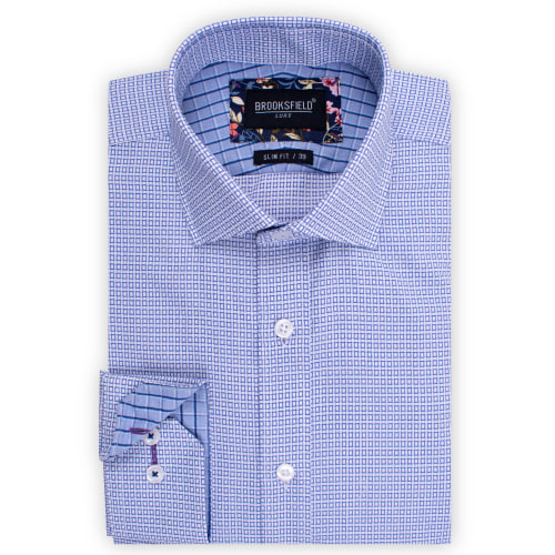 Brooksfield Floating Dobby Grid Weave Shirt BFC1528 colour: PURPLE