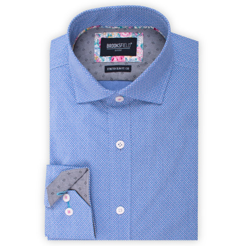 Brooksfield Luxe Stretch Chambray Dot Print Shirt BFC1535 colour: AQUA