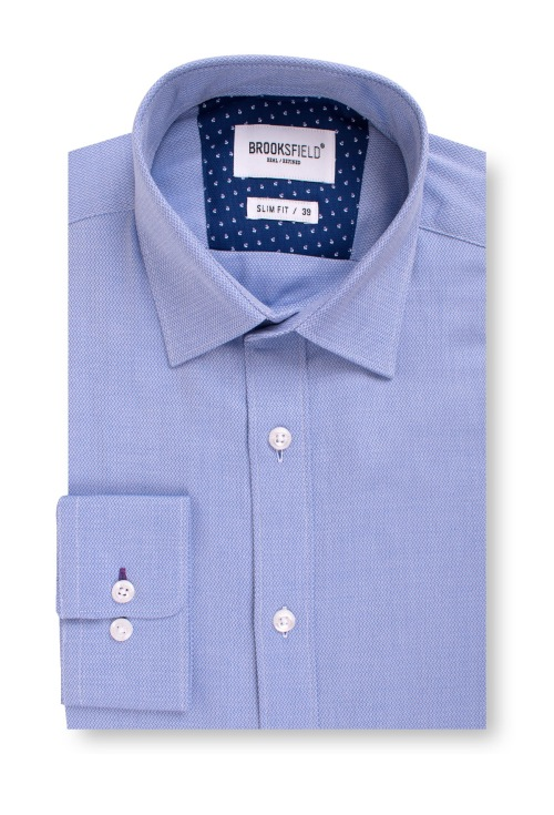 Brooksfield Career Textured Business Shirt BFC1537 colour: BLUE