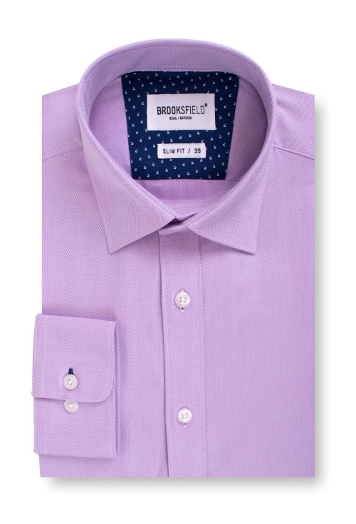Brooksfield Career Textured Business Shirt BFC1537 colour: LILAC