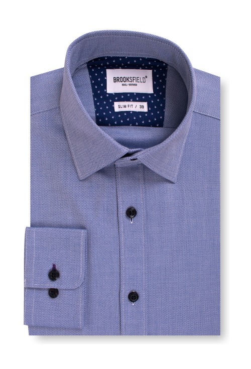 Brooksfield Career Textured Business Shirt BFC1537 colour: NAVY