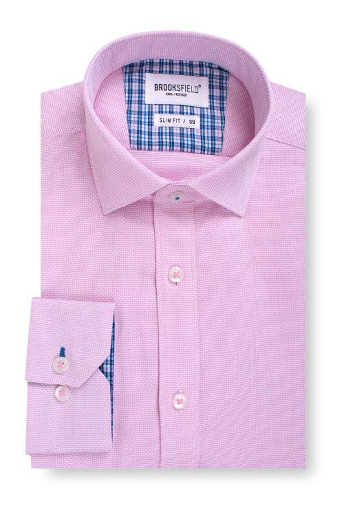 Brooksfield Career Textured Business Shirt BFC1539 colour: PINK