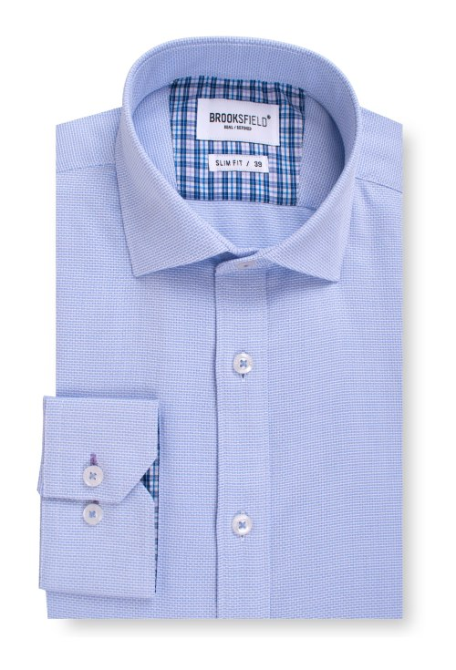 Brooksfield Career Textured Business Shirt BFC1539 colour: SKYWAY