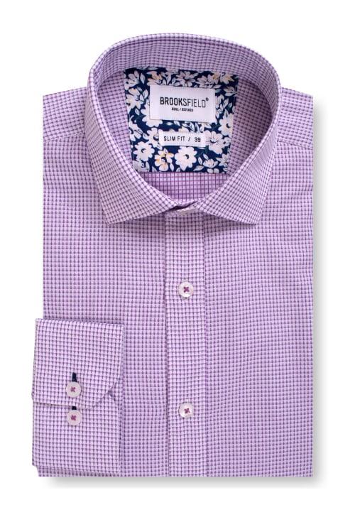 Brooksfield Career Chambray Dobby Business Shirt BFC1541 colour: PURPLE
