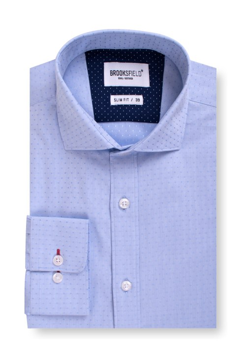 Brooksfield Career Textured Polka Dot Business Shirt BFC1542 colour: LIGHT BLUE