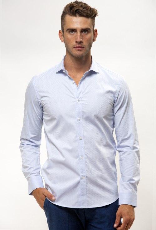 Enlarge  BROOKSFIELD Mens Career Textured Polka Dot Business Shirt BFC1542 LIGHT BLUE