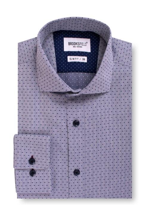 Brooksfield Career Textured Polka Dot Business Shirt BFC1542 colour: NAVY