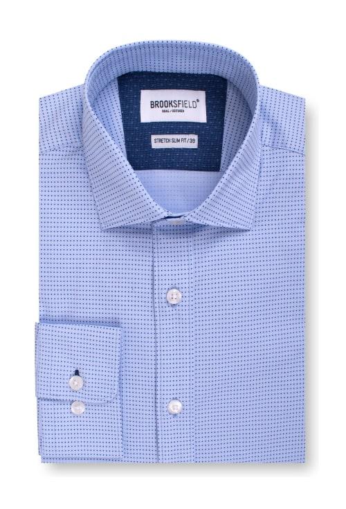 Brooksfield Career Stretch Two Tone Dot Print Business Shirt BFC1546 colour: LIGHT BLUE