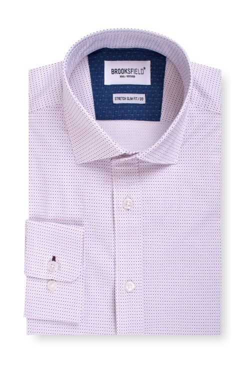 Brooksfield Career Stretch Two Tone Dot Print Business Shirt BFC1546 colour: WHITE