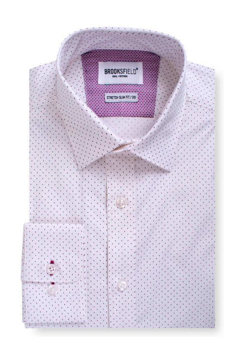 Brooksfield Career Stretch Dash Print Business Shirt BFC1547 colour: WHITE