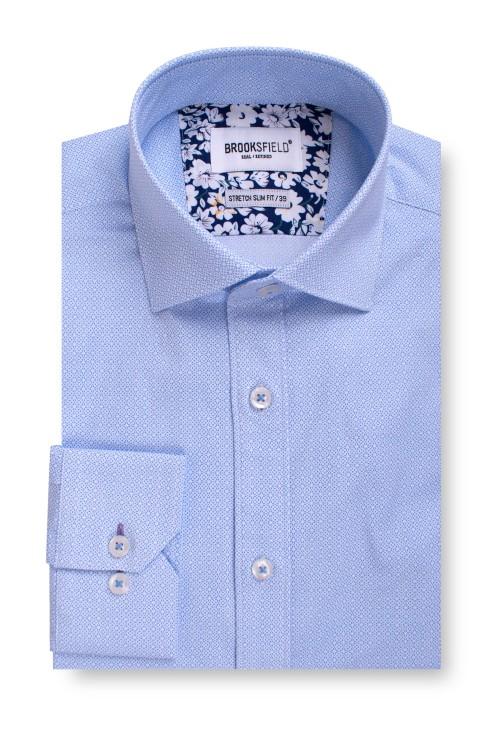 Brooksfield Career Stretch Geo Print Business Shirt BFC1548 colour: BLUE
